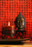 Ingram Vitantonio Cicorella - Asian candle with red orential background